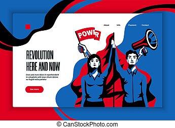 sito web, concetto, bandiera, rivoluzione