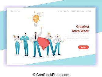 sito web, concetto, caratteri, affari, banner., luce, lavoro, atterraggio, pagina, vettore, lavoro squadra, illustrazione, direzione, squadra, brainstorming, template., bulbo