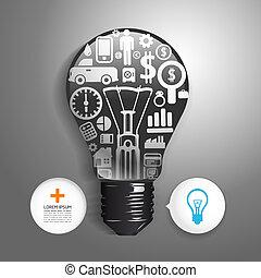 sito web, essere, concetto, disposizione, finanza, icone, luce, fare, grafico, /, o, usato, vettore, lattina, piccolo, bulbo, infographics/, .vector, pensare, elementi, illustration.