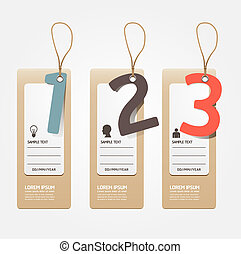 sito web, essere, grafico, usato, disposizione, vettore, moderno, linee, /, o, carta, bandiere, etichetta, disegno, numerato, sagoma, infographics, disinserimento, style/, orizzontale, lattina