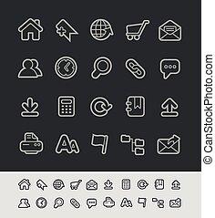 sito web, //, icone, serie, nero, linea