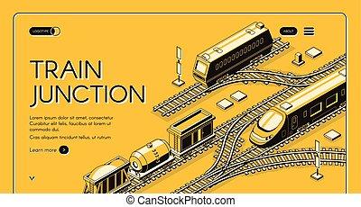 sito web, isometrico, vettore, giunzione, treno, sagoma