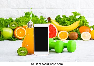 sito web, mangiare, servizio, telefono, sano, mockup, dieta, domanda, mobile, sport