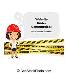 sito web, messaggio, costruzione, sotto