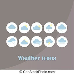 sito web, mobile, previsione, grande, collezione, simboli, domanda, nubi, tempo