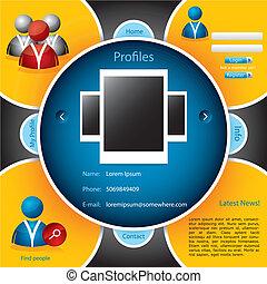 sito web, networking, sagoma, sociale