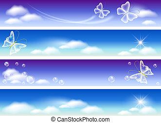 sito web, panorama, bandiere, set, cielo