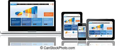 sito web, sagoma, su, multiplo, congegni