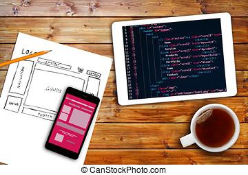 sito web, schizzo, codice, tavoletta, wireframe,...