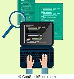 sito web, sviluppo, appartamento, concetto, programmazione, codificazione, illustrazione, web, design.