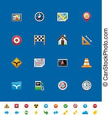 sito web, vettore, comune, icons., gps