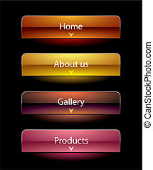 sito web, vista, set, stile, bottoni, nero, sagoma