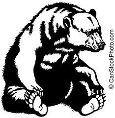 sittande, björn, svart, vit