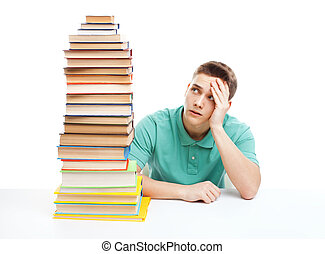 sittande, hög, böcker, student, skrivbord, stack