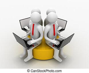 sittande, laptop, 3, gul, skiva, man