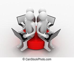 sittande, laptop, 3, skiva, röd, man