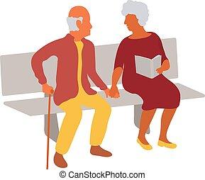 sittande, par, parkera, äldre, bänk, tillsammans, gårdsbruksenheten räcker