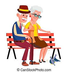 sittande, par, parkera, isolerat, äldre, bänk, höst, illustration, vector., sommar