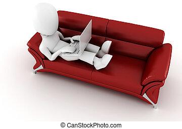 sittande, soffa, laptop, 3, röd, man