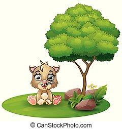 sittande, träd, katt, bakgrund, under, vit, tecknad film