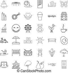 Sitter icons set, outline style - Sitter icons set. Outline...
