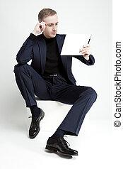 sitting., タブレット, thinkind, デジタル, 肖像画, ハンサム, 人
