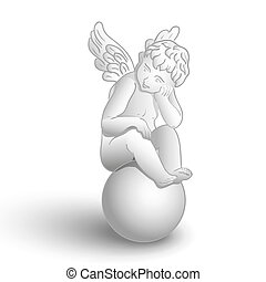 Sitting angel - Little white angel with wings sitting on...