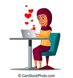 Sitting Arab Girl With Laptop With Hearts Flying Out Vector. Illustration