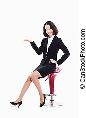 Asian business woman indicate blank space