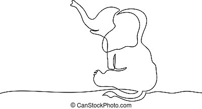 Sitting baby elephant. Continuous one line drawing.