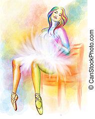 Sitting ballerina watercolor painting