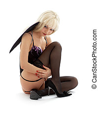 sitting black lingerie angel