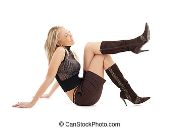 sitting blond in brown shorts and boots #3