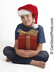 Sitting boy with Christmas Gift
