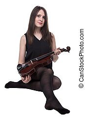 Sitting brunette woman with fiddle