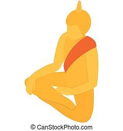 Sitting Buddha icon, isometric 3d style