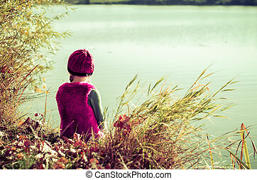 sitting by the pond