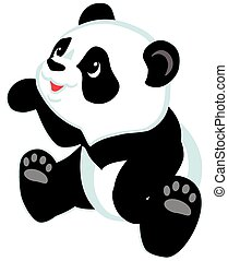sitting cartoon panda bear , isolated image for little kids