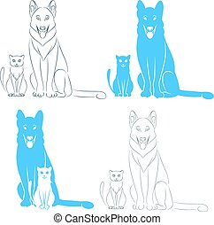 Sitting cat and dog