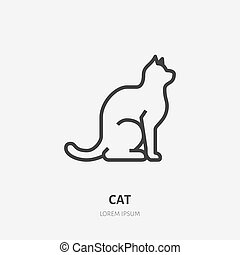 Sitting cat flat line icon. Vector thin sign of black kitten, animal logo. Pet shop outline illustration