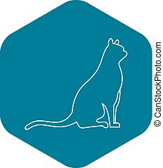 Sitting cat icon, outline style