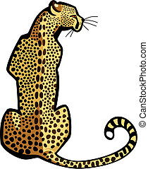 Vector illustration of a cheetah seated, seen from the rear view
