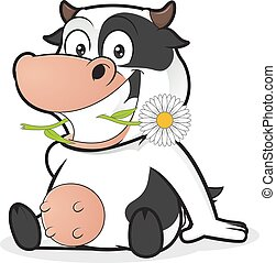 Sitting cow eating daisy