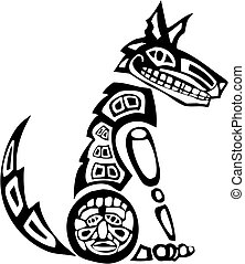Sitting Coyote - Mythical Coyote rendered in Northwest Coast...