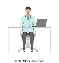 Sitting doctor man in lab coat. Smiling, talking. Vector illustration in flat style.