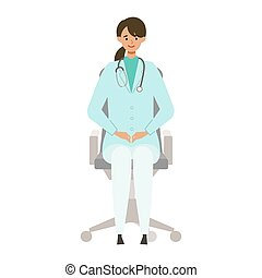 Sitting doctor woman in lab coat. Smiling, talking. Vector ...