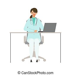 Sitting doctor woman in lab coat. Smiling, talking. Vector illustration in flat style.