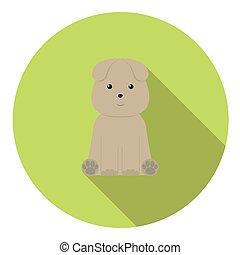 Sitting Dog Flat Icon