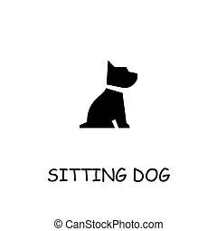 Sitting dog flat vector icon
