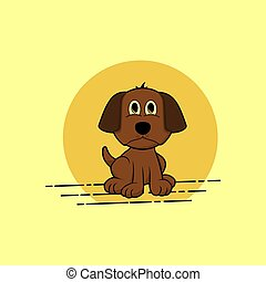 sitting dog vector cartoon